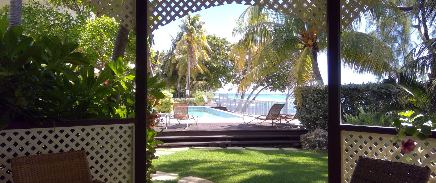 Looking out from the Gazebo to the pool